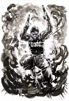 Day 29 - Winter Soldier inkwash on A4 canson paper