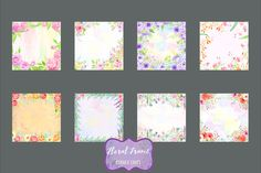 Watercolor Floral Frames  by @Graphicsauthor