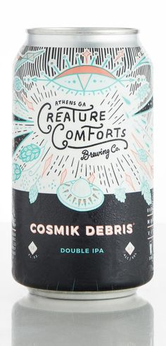 Creature Comforts Brewery Cosmik Debris 2017 scored a 94 in a blind taste test by BJCP judges for Craft Beer & Brewing Magazine Beverage Packaging, Bottle Packaging, Food Packaging, Coffee Packaging, Craft Beer Wedding, Craft Beer Labels, Wine Labels, Beer Label Design, Beer Logo Design
