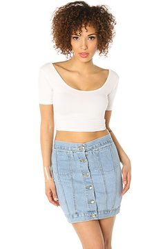 Cheap Monday The Tracey Denim Skirt in Light Trash