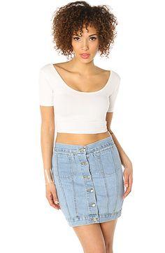 Cheap Monday The Tracey Denim Skirt in Light Trash