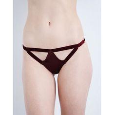 Coco De Mer Persephone silk-satin bikini briefs (130 CAD) ❤ liked on Polyvore featuring intimates, panties, purple, bikini bottom, purple bikini bottoms, swim bikini bottoms, patterned bikini and cut-out bikinis