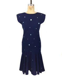 a6054326dfe vintage 1970 s PAT RICHARDS bejeweled dress   Michael Maiello   navy blue    faux gemstones faux pearls   women s vintage dress   tag size 6