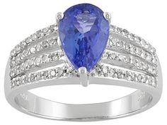 1.40ct Pear Shape Tanzanite With .28ctw Round Diamond 10k White Gold Ring Erv $721.00