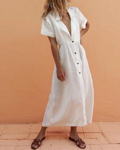 Description Product Name Suit collar single-breasted slim maxi dress Brand Name Mattecoco SKU Season Spring/Summer Type Dress Occasion Office / daily Pattern Solid color Dress Size(cm) Bust Waist Hips S M L XL Please Note: All dimensions ar Off White Shop, Vacation Dresses, Vacation Wear, Vacation Fashion, Vacation Style, Vacation Clothing, Mexico Vacation, Travel Dress, Button Dress