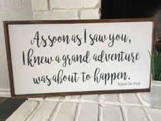 As Soon As I Saw You, I Knew A Grand Adventure Was About To Happen Winnie the Pooh Sign Woodland - Nursery twins, Winnie the pooh nursery, Nursery signs boy, Baby boy ro - Winnie The Pooh Nursery, Winnie The Pooh Decor, Disney Nursery, Adventure Nursery, Der Bus, Nursery Signs, Nursery Ideas, Nursery Room, Nursery Crafts