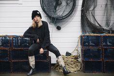 Finkewear/ www.finkewear.com/ Knitwear/ Sweater/ Black Cotton/ Scandinavian / Fashion/ Campaign/ All Black