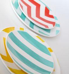 2011 Spring Aedriel Originals Dinnerware Collection- Set of Four Salad Plates- Chevron, Stripes, Solids