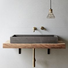 Cube Basin By Concrete Nation Local Australian Bespoke Bathrooms Gold Coast, Qld Image 1 Concrete Basin, Concrete Bathroom, Bathroom Basin, Bathroom Wall, Bedroom With Bath, Wall Mounted Vanity, Polished Concrete, Bathroom Interior, Interiores Design