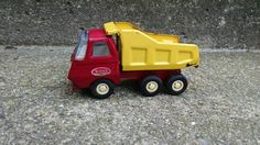Vintage Toy Tonker Dump Truck Red and Yellow by TazamarazVintage