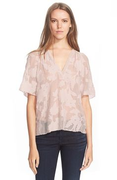 Rebecca Taylor 'Magnolia' Fil Coupe Cotton & Silk Top available at #Nordstrom