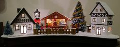 Christmas LED Wood Winter Scene Village Gingerbread 37cm Decoration – Hand Painted