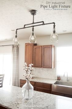 DIY Industrial Pipe Light Fixture - a beautiful DIY pendant light #sponsored
