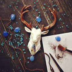 Polymer clay stag....Wonder if that's a mold? A