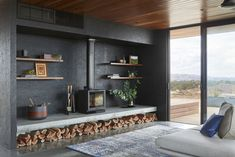 Elemental House by Ben Callery Architects is an off-grid home which doesn't sacrifice comfort despite being a place you retreat to escape modern life. Home Fireplace, Fireplace Design, Fireplaces, Fireplace Ideas, Freestanding Fireplace, Log Burner, Cabana, Living Area, Living Room