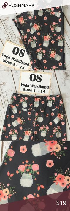 Charlie's Project Mason Jars Flower Leggings *Size: One Size Adult (OS) Fits Sizes 4-14 (Length 35.5 inches  Waist: 29  Inseam:26). *Material:  double brushed 92% Polyester and 8% Spandex *Waistband:  Yoga waistband *Description:  Charlie's Project brand. Flower bouquets in mason jars over a grey background.  Soft double brushed fashion leggings with a comfy yoga waistband like LuLaRoe, but are NOT LuLaRoe brand. *Condition:  Brand new with tags, only taken out of the bag to inspect and…