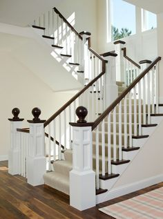 Ball finial, Staircase Custom Millwork, Staircase details, Staircase Herringbone stair runner, Staircase white trim