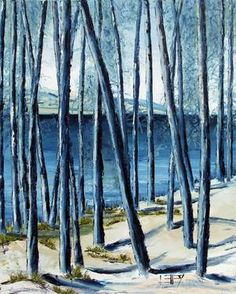 """Saatchi Online Artist Lisa Elley; Painting, """"Blue Forest Palette knife painting in oil."""" #art #painting"""