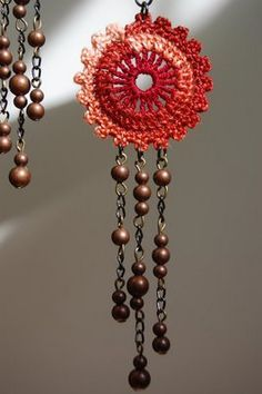 Crochet and copper bead earrings – Handwerk und Basteln Love Crochet, Bead Crochet, Crochet Crafts, Yarn Crafts, Crochet Flowers, Crochet Projects, Crochet Earrings, Bead Earrings, Crochet Jewellery