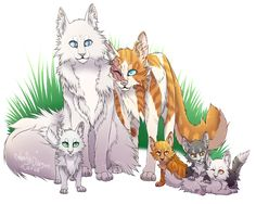 Brightheart and Cloudtail's family. (I know that Whitewing was a warrior by the time that Amberkit, Dewkit, and Snowkit were born, but i guess that the artist drew her as a kit to compare to the others.)
