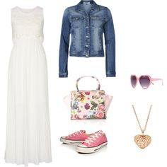 """Casual maxi dress and denim jacket"" by heartcat22 on Polyvore. I have a white maxi dress, jean jacket, pink sneakers, and heart pendant. I have a pink and white purse that goes well with the shoes. I just need the heart shaped sunglasses."