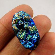 25 Cts. Natural Dyed Rainbow Flashy Druzy Agate Loose Cabochon Gemstone AAF265