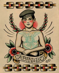 Sailor Tattoo Flash Print. 'Cabin Boy' by ParlorTattooPrints on Etsy. #elevate