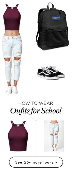"""""""School is lameee"""" by fashioncrazy2003 on Polyvore featuring Kendall + Kylie and JanSport"""