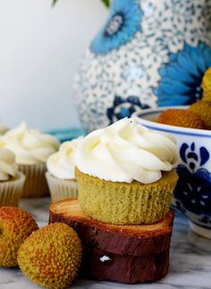 Green Tea Cupcakes with Lychee Frosting | Sprig and Flours