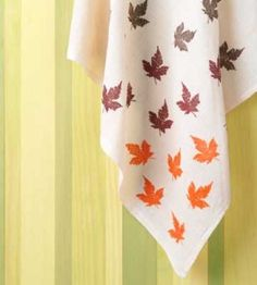 Use stamps and acrylic fabric paint to customize plain linen napkins, tea towels, tablecloths for Thanksgiving... or Thanksgiving hostess gifts. How-tos on our website.