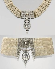 A Bell Epoque platinum, pearl and diamond choker, circa 1910. The choker composed of natural pearl mesh, centring a removable foliate inset set with diamonds and pearls. #BelleÉpoque #antique #choker