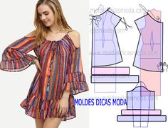 moldes de blusas cruzada na frente com manga de babado ile ilgili görsel sonucu Sewing Dress, Dress Sewing Patterns, Diy Dress, Clothing Patterns, Dress Outfits, Dresses, Fashion Sewing, Diy Fashion, Ideias Fashion