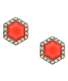 Shop for Coral Hexagon Crystal Stud Earrings by Blu Bijoux at ShopStyle. Crystal Earrings, Stud Earrings, Coral Bridesmaid Dresses, Max And Chloe, Coral Jewelry, Coral Color, Heart Ring, Fashion Jewelry, Jewels
