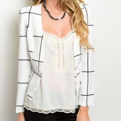 """White and black blazer jacket zipper detail •White and black blazer •Zipper detail around the waist •Long sleeves •Thin •Lined •S, M, L available •S:(L:19.5"""", B:17"""", S:22"""") •M:(L:19"""", B:18.5"""", S:23.5"""") L:(L:19.5"""", B:19"""", S:23.5"""") •Brand new from vendor  •DO NOT PURCHASE THIS LISTING Jackets & Coats Blazers"""