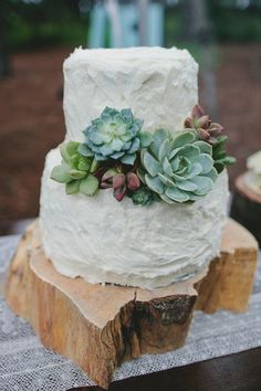 I love how this wood cake stand is not the perfect typical round slice, yet still looks drop--dead amazing. White Buttercream Wedding Cake with Succulent Details White Buttercream, Buttercream Wedding Cake, Mod Wedding, Dream Wedding, Wedding Day, Cake Wedding, Wedding Flowers, Wedding Cupcakes, Forest Wedding Cakes