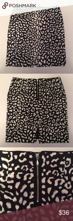 "Sale🎈Skirt by White House Black Market Sz 2 WHBM Straight Skirt with Black White and Gray Animal Print with Kick Pleat and Exposed Back Zipper Fully Lined Size 2 Waist 14.5"" Across Hips 18"" Across Length 18"" Measurements are Approximate 98% Cotton 2% Spandex Lining is 100% Polyester Cute! Like New Condition White House Black Market Skirts Pencil"