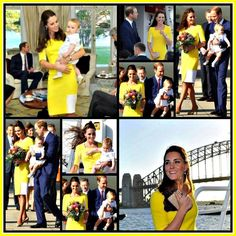 The Duke and Duchess of Cambridge and Prince George's first day in Australia, Kate looked beautiful in Yellow.