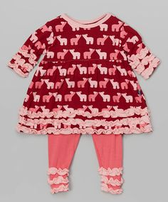 Look at this #zulilyfind! Brick Polar Bear Babydoll Tunic & Leggings - Infant & Toddler #zulilyfinds