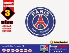 Embroidery Store, Embroidery Files, Machine Embroidery Designs, Paris Saint, Saint Germain, Chicago Cubs Logo, My Etsy Shop, Logo Design, Check