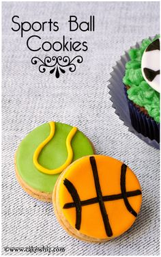SPORTS BALL COOKIES are always a winner with guys! Learn to make these easy basketball and tennis ball cookies with my video tutorial. From cakewhiz.com