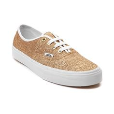 Go for gold this season with the new Authentic Glitter Skate Shoe from Vans! Rise and shine with the Vans Authentic Glitter Sneaker, featuring a glittery textile upper with gold eyelets, and white trim. Only available at Journeys and SHI by Journeys!    Features include   Canvas upper with glitter finish   Front lace closure offers a secure fit   Padded footbed provides cushion and support   Vulcanized rubber outsole with signature waffle tread delivers flexible traction