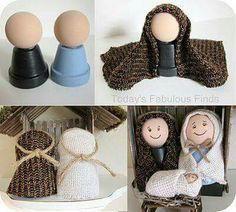 Make Your Own Childrens' Nativity Set - Manualidades - Flower Pot Crafts, Clay Pot Crafts, Craft Stick Crafts, Christmas Projects, Holiday Crafts, Crafts For Kids, Nativity Ornaments, Nativity Crafts, Christmas Nativity