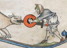 Mann mit Buckler, BL Additional 24686 The Alphonso Psalter, fol. 12v, 1284-1316, England.