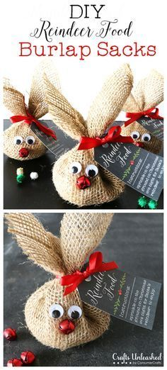 DIY Reindeer Food Burlap Sacks (hersheys kisses, or m&ms, would be fun, too)