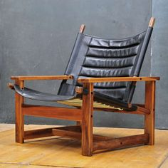 Børge Mogensen; Brazilian Cherry and Leather Lounge Chair for Fredericia Stolefabrik, 1958.