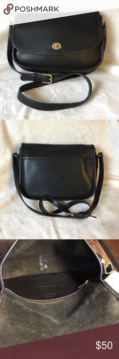 Coach Classic City Bag in black leather Coach Classic City bag in black leather with suede interior, brass hardware with hang tag, made in New York, USA, great condition Coach Bags Crossbody Bags
