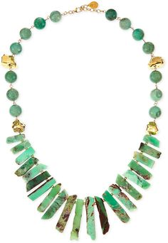 $795, Green Necklace: Devon Leigh Long Chrysoprase Spike Gold Dipped Nugget Necklace. Sold by Neiman Marcus. Click for more info: http://lookastic.com/women/shop_items/62418/redirect