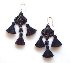 Brown Earrings Long Chandelier Earrings Gemstone от QJBoutique