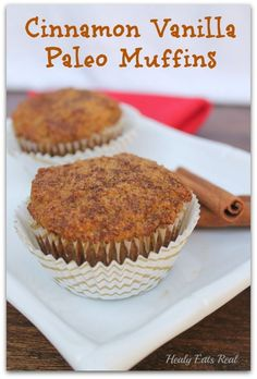 Cinnamon Vanilla Paleo Muffins (Keto & Paleo) In case you haven't noticed, I've been on a paleo muffin kick lately. These Cinnamon Vanilla Paleo Muffins are a great addition to my other paleo muffin recipes! Dessert Sans Gluten, Paleo Dessert, Dessert Recipes, Paleo Muffin Recipes, Diet Recipes, Paleo Meal Plan, Paleo Diet, Eating Paleo, Paleo Bread