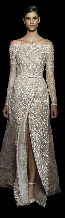 Elie Saab highly textured wedding gown, such a simply tailored gown, made magical by detailing. Follow RUSHWORLD on Pinterest! New content daily, always something you'll love! #ElieSaab #WhatToWear #HauteCouture